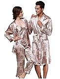 MFFACAI Logeliy Herren Nachtwäsche Roben Seide Luxus Nachthemd Baden Sauna Kleidung Bademantel Damen Pyjama-Sets Langarm-Kragen-Anzug + Hosen Nachtwäsche, Women