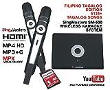 SingMasters Magic Sing Philippines Karaoke Player,5500+ Philippines Filipino Tagalog Pinoy Songs,Dual wireless Microphones,YouTube Compatible,HDMI,Song recording,TAGALOG Karaoke Machine