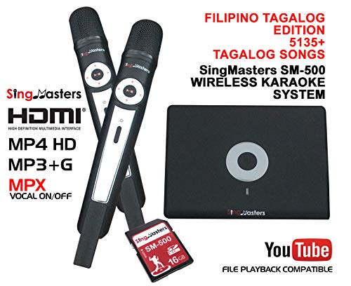 SingMasters Magic Sing Philippines Karaoke Player,5135+ Philippines Filipino Tagalog Pinoy & 13K English Songs,Dual wireless Microphones,YouTube Compatible,HDMI,Song recording,TAGALOG Karaoke Machine