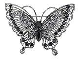 Alilang Antique Inspire Grau Silberton Kristall Strass Schmetterling Brosche