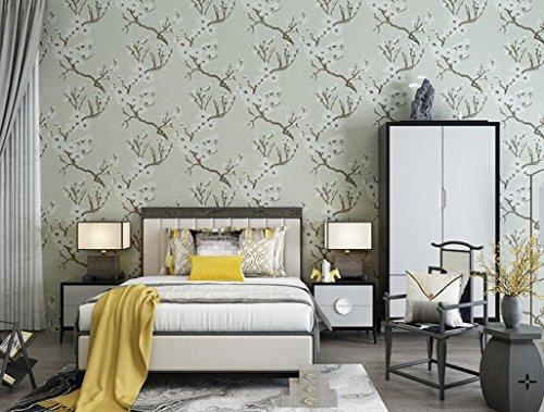 Rureng Plum Blossom Wallpaper Wasserdichte Wand Hintergrund Für Wohnzimmer Bar Hotel PVC Tapeten 10Mx53Cm Grün (Green Plum Blossom)
