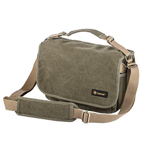 TARION RS-01 Kameratasche Fototasche Umhängetasche Messenger Tasche (Armee Grün) aus Canvas Leinen für Kamera Objektive und Zubehör