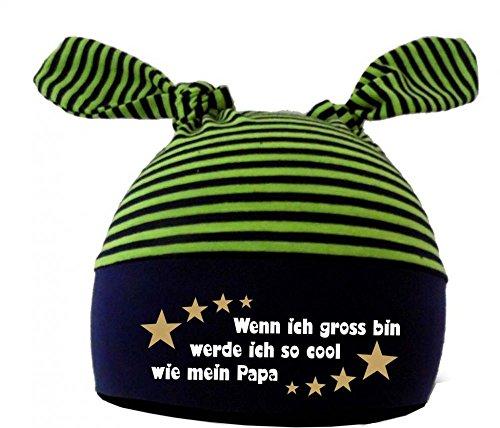 Baby 2-Zipfel Mütze (Farbe navy-lime) (Gr. 1 (0-12 Monate)) Wenn ich gross bin werde ich so cool wie Papa