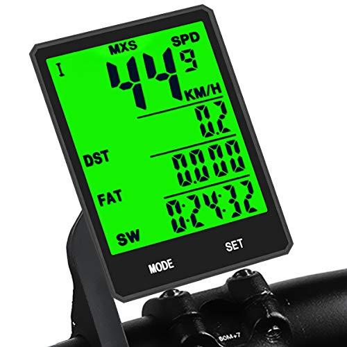 KASTEWILL Fahrradcomputer Kabellos Multi Funktionen Bike Kilometerzähler Wasserdicht Große LCD-Hintergrundbeleuchtung Display Fahrrad Computer für Fahrrad Mountainbike