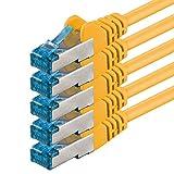 0,5m - giallo - 5 pezzi - Rete Cavi Cat6a | S-FTP | CAT 6a | doppia schermatura - certificato GHMT | PIMF | 500MHz | 4x2xAWG26 / 7 CU rame | non contiene alogeni | compatibile con CAT 5e / CAT6 / CAT7 | 10 / 100/1000 / 10000Mbit / s | per switch, router, modem, Patchpannel, Access Point, pannelli di permutazione
