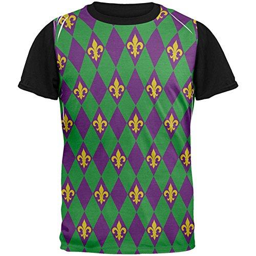 Faschingsdienstag Fleur De Lis Jester Kostüm ganz zurück T-Shirt Herren schwarz Multicoloured
