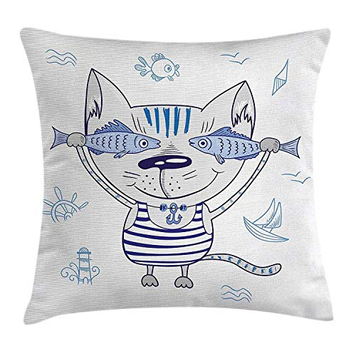 Ocean Animal Decor Throw Pillow Cushion Cover, Naughty Cat with Fish in Striped T-Shirt Anchor Pendant and Nautical Sign, Decorative Square Accent Pillow Case, 18 X 18 Inches, Blue Grey