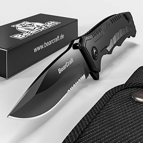 BearCraft Klappmesser schwarz | Scharfes Outdoor Survival Taschenmesser mit Wellenschliff | Kleines...