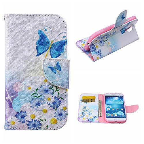 MOONCASE Galaxy S4 Hülle, [Blau Schmetterling] Muster Schutzhülle Leder Tasche Brieftasche [Stoßdämpfende] TPU Case mit Standfunktion und Karte Halter für Samsung Galaxy S4 I9500