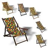 Printalio Bausteine Bunt - Liegestuhl bedruckt Balkon Garten Sonnenliege Relax Holz Terrasse | Variante:Aluminium, Grau