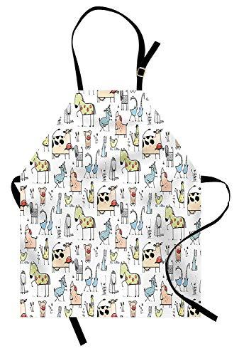 iche Kuh Pferd Schweine Huhn Schaf Bauernhaus Maskottchen Kinder Kindergarten Baby Cartoon Print, Unisex-Küche Latzschürze mit verstellbarem Hals zum Kochen Backen Gartenarbeit, Mul ()
