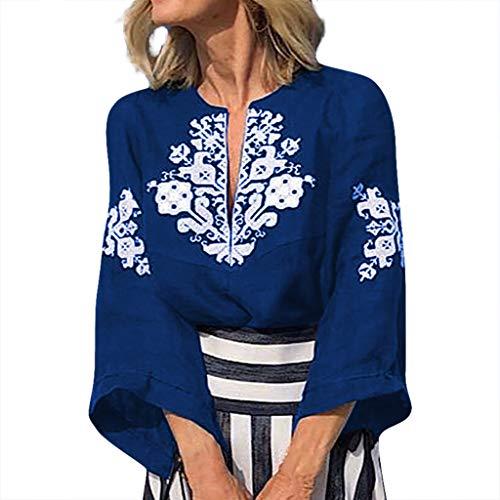 Yvelands Damen Weisefrauen-Blusen-T-Shirt V-Ansatz Plus Größen-Druckmittelhülse einfache Oberseiten-Bluse(Blau,XXXXL)