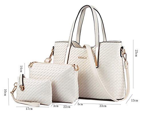 Tibes modo dellunità di elaborazione della borsa del cuoio + Shoulder Bag + Purse 3pcs Bag Nero Beige