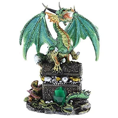 Green Mystical Dragon Figurine On Treasure Chest New Boxed