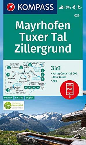 Carta escursionistica n. 037. Mayrhofen, Tuxer Tal, Zillergrund 1:25.000. Ediz. italiana, tedesca e inglese: 3in1 Wanderkarte 1:25000 mit Aktiv Guide ... Fahrradfahren. Skitouren. Langlaufen.