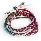 URIZONS Kopfhörer, Headsets, In-Ear Stereo Ohrhörer mit Mikrofon und Remote Handgefertigte Stoff geflochtene Tribe Thread Wrapped Armband Style
