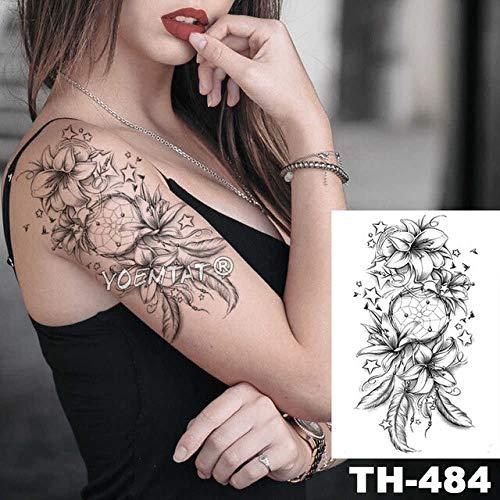 Hxman 5pcs rosa bussola rosa bussola perla croce impermeabile temporanea tatuaggio nero pizzo braccio indietro fiori grande tatto corpo arte falso tatoo per le donne th-385 19-th484