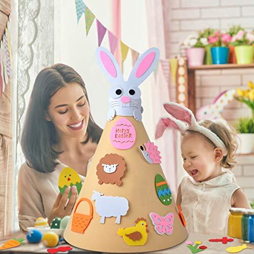 Fansport giocattolo di pasqua fai da te, giocattolo fatto a mano per bambini 3d albero in feltro fai da te con 18 pezzi albero adorabile ornamenti appeso per i bambini decorazioni