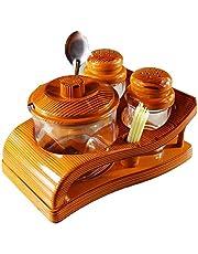 aufers Oscar Food Grade Salt/Pepper/Pickle Set with Stand for Kitchen/Dining/Transparent/Wooden Design_Plastic 4 Piece Salt & Pepper Set (Plastic)