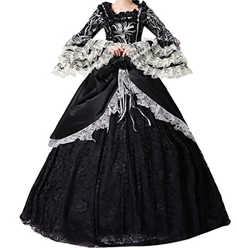 (Nuoqi reg;Damen Satin Gothic Victorian Prinzessin Kleid Halloween Fancy Dress Cosplay Kostüm Party Maxi Kleid (36, CC3034A-NI))