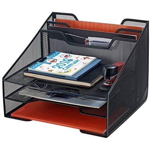 Bonsaii Schreibtisch-Organzier, Büroablage mit 5 Fächern, Briefablage aus Metallgeflecht mit 3horizontalen und 2vertikalen Ablagen für Büro, Schule und Zuhause, Schwarz (W6488) (Mesh-schublade-storage Box)