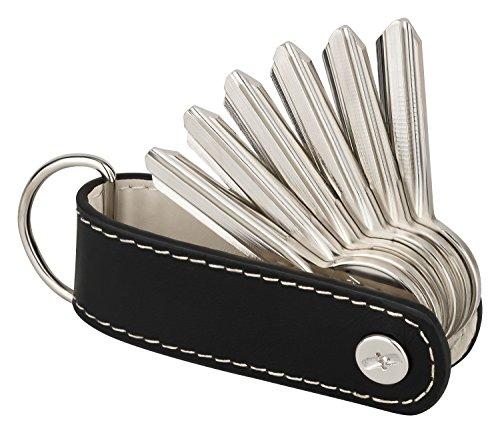 Leder-schlüsselanhänger-befestigung (Der Key-Organizer von KliSa aus echtem Leder - das Accessoire für den Mann! (Schwarz))