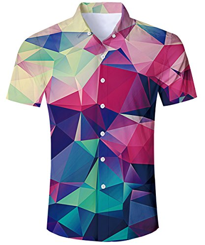 TUONROAD Hemd Herren Kurzarm Funny Geometrische 3D Gedruckt Muster Bunte Funky Shirt Hawaiihemd Sommerhemd Button Down Blau Hawaihemden Strandhemd Hawaii Hemd Rot Männer Jungen XL -
