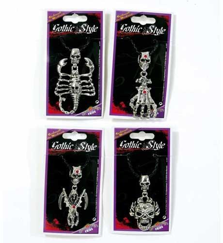 (Halloween Kette Halskette Metall Anhänger mit Schnur -Skorpion-)
