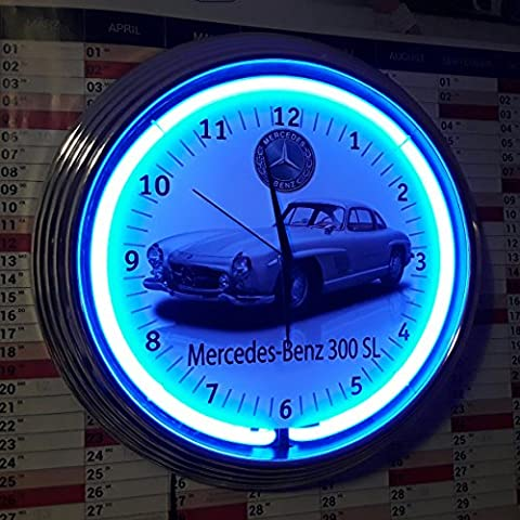 zeropoint Boutique Neon Clock Horloge murale radio-pilotée Vespa Fluo pour Piaggio Italian flag Blue Bleu Fluo