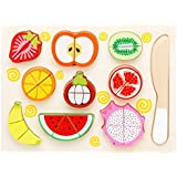 Munchkin Land Wooden 9 Pieces Magnetic Sliceable Fruit Cutting Game Kitchen Set Toy For Kids With Wooden Chopping Board And Knife