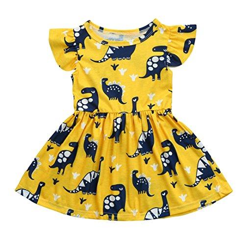 Mädchenkleider URSING Kinder Baby Mädchen Kurzarm Dinosaurier Drucken Prinzessin Kleid Partykleid Outfits Sommer Kleidung Sundress Festliche Kindermode Schöne Kinderkleid (100CM 2-3Jahre, Gelb)