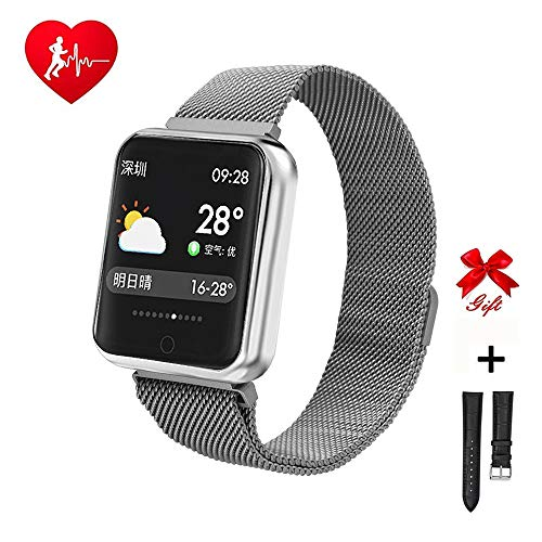 RanGuo Smart Watch for Men Women Kids, Bluetooth Smart Watches Waterproof Sports Smart Bracelet for Android and iOS System Smartphones, Support call reminder and message reminder (Steel strap,Silver)