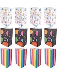 TOYANDONA 12Pcs Colorida Bolsa de Regalo de Papel Kraft Tamaño Mediano Bolsas de Embalaje de Regalo para El Almuerzo Bolsas de Papel de Fondo Plano Favor de Fiesta Envuelto Contenedor de