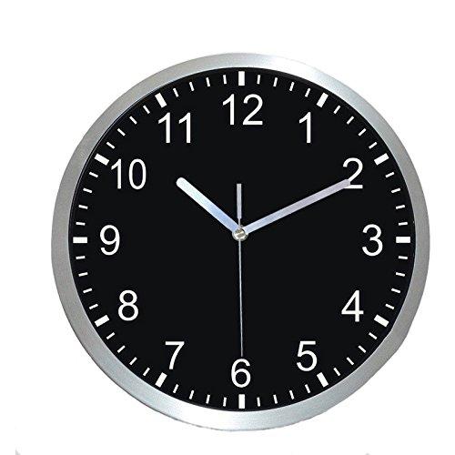 Reloj de pared de 30,5 cm con movimiento de cuarzo universal silencioso de Hemara, apto para interiores y exteriores, con marco de metal de acero inoxidable y cubierta de cristal