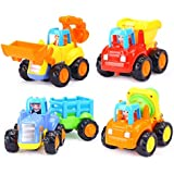 HOME CUBE® Baby Toys Push And Go Friction Powered Car Toy Tractor, Bulldozer, Mixer Truck And Dumper Children Pretend Play Construction Toy Set ( Set Of 4 )