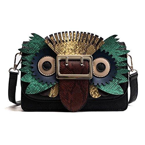 Tier Drucken Schulter Tasche (Cartoon Lustige Kleine Mädchen Mode Schlange Muster Quadratische Tasche Getroffen Farbe Schulter Messenger Bag , schwarz)