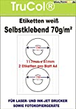 200 Universal CD DVD Labels bedruckbar Qualitäts Etiketten 117 x 41 mm Selbstklebend weiß Ø 117 mm, Innenloch groß - 100 Din A4 Bogen à 2x1 117x41 Labels