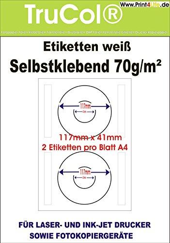 2.000 Universal CD DVD labels bedruckbar Etiketten 117x41mm CD-Etiketten Aufkleber Ordneraufkleber Büro Label Adressetiketten Internetmarke weiß DIN A4 – 1000 Blatt A4 Bigpack - Universell für Laser/Inkjet/Kopierer einsetzbar