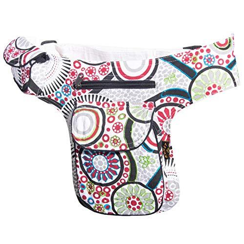 Kunst Handtasche (KUNST UND MAGIE Goa Schulter/Bauchtasche Gürteltasche Bauchgurt Hippie Psy, Farbe:Weiß)