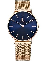 Alienwork Navy Blue Quarz Armbanduhr Ultra-flach Uhr Damen Uhren Mädchen Zeitloses Design Metall blau rose gold 98469NBG-L-04