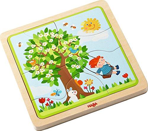 Haba 302529 Holzpuzzle Lieblingsjahreszeit, Kleinkindspielzeug