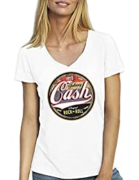 Friendly Bees Johnny Cash Rock N Roll T-Shirt Camiseta Cuello V Para la Mujer