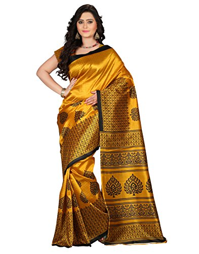 e-VASTRAM Women\'s Mysore Art Silk Saree (NS2A_Yellow)