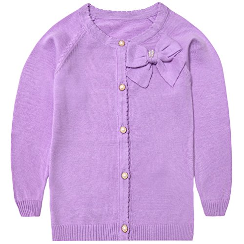 Lyshi Girls Knitwear Bow Long Sleeves Button Knitted Cardigan Tops 5 Years Purple