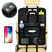 Aoweika Car Back Seat Organiser, iPad Tablet Touch Screen Holder and Car Seat Protector for Kids, Car Storage Organiser with Multi-Pockets and 4 USB Charging Ports (24 * 17 inch)