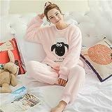 RMENGSY Schlafanzug Frauen Pyjama Sets Herbst Winter Pyjamas Flanell Cartoon Dicke Warme Frauen Nachtwäsche Niedlichen Tier Weibliche Homewear
