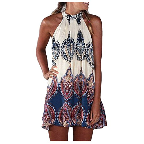DAY.LIN Kleider Kleidung Damen Neu Sommer Damen Chiffon Ärmellos Blume Party Lose Beiläufig Kleid Bedrucktes ärmelloses Kleid (M=EUS) -