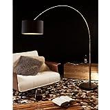 Steh-Lampe dimmbar schwarz mit Standfuß aus Marmor 210x180 cm | Iluma | Steh-Leuchte groß mit Lampenschirm aus Textil | Bogen-Lampe für Wohnzimmer 210cm x 180cm