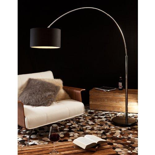 Steh-Lampe dimmbar schwarz mit Standfuß aus Marmor 210x180 cm   Iluma   Steh-Leuchte groß mit Lampenschirm aus Textil   Bogen-Lampe für Wohnzimmer 210cm x 180cm