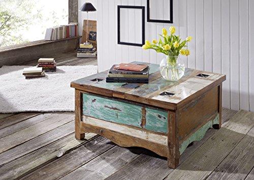 Table basse coffre 90x90cm - Bois massif recyclé multicolore laqué - Inspiration Ethnique - NATURE OF SPIRIT #07